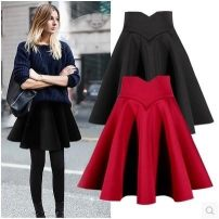skirt Autumn of 2018 XS,S,M,L,XL,2XL,3XL,4XL Black (space cotton) Short skirt Versatile High waist Umbrella skirt Solid color Type A 18-24 years old 71% (inclusive) - 80% (inclusive) brocade other zipper 301g / m ^ 2 (including) - 350g / m ^ 2 (including)