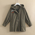 Windbreaker Spring of 2019 M, L Army green, blue Long sleeves routine Medium length commute zipper Hood routine Korean version Other / other 25-29 years old 71% (inclusive) - 80% (inclusive) cotton cotton