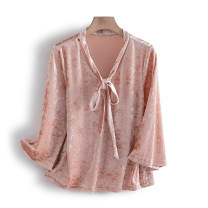 Lace / Chiffon Spring 2021 Pink M,XL Long sleeves commute Socket singleton  Straight cylinder Regular V-neck other other 25-29 years old Other / other S60V2258 Korean version 96% and above polyester fiber