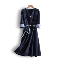 Dress Spring 2021 S, M Mid length dress singleton  elbow sleeve commute V-neck middle-waisted Solid color Socket routine Others 25-29 years old Type X Other / other Korean version More than 95% polyester fiber