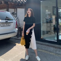 Dress Summer 2021 Black, green, orange XS,S,M,L,XL Mid length dress singleton  Short sleeve commute Crew neck Loose waist Solid color Socket A-line skirt routine Others Type A Korean version More than 95% cotton