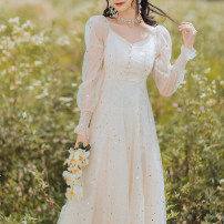 Dress Spring 2021 Off white S,M,L longuette singleton  Long sleeves commute V-neck High waist Solid color Socket A-line skirt routine camisole 18-24 years old Type A Sequins, gauze other polyester fiber