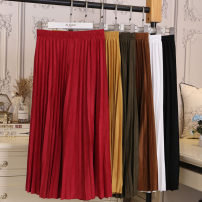 skirt Spring 2021 Average size Blue, apricot, khaki, yellow, black, green, white, red, pink, brown Mid length dress commute High waist Pleated skirt Solid color Type A 18-24 years old 9812# 51% (inclusive) - 70% (inclusive) other Other / other other fold Korean version