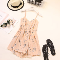 Dress Summer 2021 Dark blue, light blue, white, pink Average size Short skirt singleton  Sleeveless commute Crew neck High waist Decor other Ruffle Skirt routine camisole 18-24 years old Type A Other / other Korean version 806# 51% (inclusive) - 70% (inclusive) other other