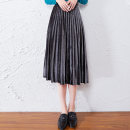 skirt Autumn 2020 S M L XL Hq023 grey Mid length dress commute High waist A-line skirt Solid color Type A 25-29 years old HQ023 91% (inclusive) - 95% (inclusive) Yuanyouya polyester fiber fold Korean version Polyester 93% polyurethane elastic fiber (spandex) 7% Pure e-commerce (online only)