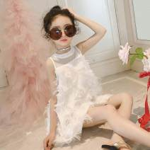 Dress [pink] feather dress, [white] feather Jumpsuit group, [black] feather Jumpsuit group female Other / other 110 is one yard smaller, 120 is one yard smaller, 130 is one yard smaller, 140 is one yard smaller, 150 is one yard smaller, 160 is one yard smaller Other 100% summer Sweet Skirt / vest
