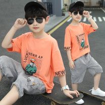 suit Lori doll 110cm 120cm 130cm 140cm 150cm 160cm 170cm male summer Korean version Short sleeve + pants 2 pieces Thin money There are models in the real shooting Socket nothing Cartoon animation cotton children Expression of love Class B Summer 2021 Chinese Mainland