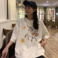 T-shirt White black grey M L XL XXL Spring 2020 Short sleeve Crew neck easy Regular routine commute polyester fiber 51% (inclusive) - 70% (inclusive) 18-24 years old Korean version originality Cartoon animation Man Yuemei BXX#16320 Embroidery Exclusive payment of tmall
