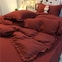 literature Retro red Four piece suit Girlish heart lace Washed cotton Quilt cover sheet ins Korean style soft Soft waxy glutinous bedding
