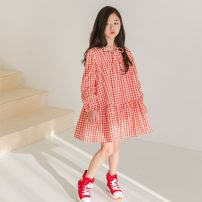 Dress Dark blue, red female Other / other 110cm,120cm,130cm,140cm,150cm,160cm Cotton 100% spring and autumn Korean version Long sleeves lattice Pure cotton (100% cotton content) Splicing style 2, 3, 4, 5, 6, 7, 8, 9, 10, 11, 12 years old