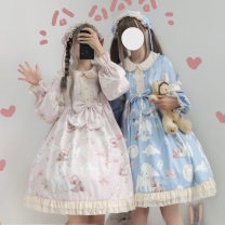 Dress Autumn of 2019 Light pink dress, blue dress, light pink hairband, blue hairband, light pink dress + hairband, blue dress + hairband S,M,L Mid length dress singleton  Long sleeves Sweet Doll Collar middle-waisted Decor zipper Cake skirt Princess sleeve Others 18-24 years old Type A Chiffon