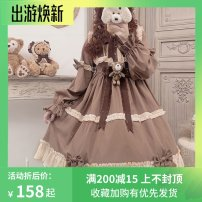 Dress Winter of 2019 Brown dress, [if you need a box, please note] S,L Mid length dress singleton  Long sleeves Sweet Crew neck middle-waisted Decor zipper Cake skirt Lotus leaf sleeve Others 18-24 years old Type A Bowknot, ruffle, tuck, chain, fold, fungus, bandage, zipper, lace, printing Chiffon