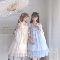 Dress Summer of 2019 Light blue, generative color S,M,L Mid length dress Fake two pieces three quarter sleeve Sweet One word collar middle-waisted Solid color zipper Cake skirt Princess sleeve camisole 18-24 years old Type A 81% (inclusive) - 90% (inclusive) Chiffon Lolita