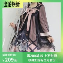 Dress Autumn of 2019 Picture color, if you need to place an order in a packing box, please note S,M,L Mid length dress singleton  Nine point sleeve Sweet One word collar middle-waisted Decor other Cake skirt routine Others 18-24 years old Type A Bows, ruffles, lace 81% (inclusive) - 90% (inclusive)