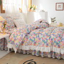 Bedding Set / four piece set / multi piece set cotton other Plants and flowers 133x72 HRHM cotton 4 pieces 40 Picking Chrysanthemum Bed skirt Qualified products Countryside 100% cotton twill Reactive Print