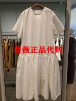 Dress Summer 2021 Middle-skirt singleton  Short sleeve commute Crew neck Loose waist Solid color Socket other routine Others 25-29 years old Type A JNBY / Jiangnan cloth clothing Splicing cotton