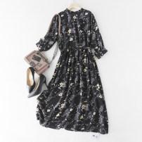 Dress Spring 2021 Black, red, Navy M,L,XL Mid length dress singleton  three quarter sleeve Decor Socket routine LT06172/M/0.12 More than 95% Crepe de Chine silk