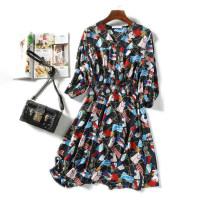 Dress Spring 2021 black 1,2,3 Mid length dress singleton  three quarter sleeve Decor Socket LT05777/1/0.23