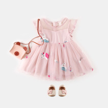 Dress Pink ( Short sleeve ) female Other / other 80cm,90cm,100cm,110cm,120cm Polyester 100% summer princess Skirt / vest Cartoon animation cotton A-line skirt Class B 12 months, 18 months, 2 years old, 3 years old, 4 years old, 5 years old, 6 years old Chinese Mainland