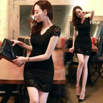 Dress Summer 2017 black S,M,L,XL,2XL Miniskirt singleton  Short sleeve commute V-neck middle-waisted Solid color Socket Irregular skirt other Others 18-24 years old Other / other Korean version Lace