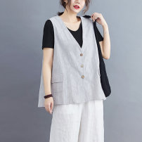 Vest Summer 2020 White lotus root light gray XL Large L routine V-neck commute Solid color Single breasted 2005X05L8F 35-39 years old Xuanlifu 96% and above hemp Triacetate fiber (triacetate fiber) 100% Pure e-commerce (online only)