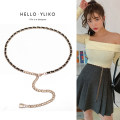 Belt / belt / chain Pu (artificial leather) White black female Waist chain Versatile Single loop Youth a hook Glossy surface Glossy surface 0.9cm alloy Naked Beaded Iriko 000YL234 Spring 2021 no