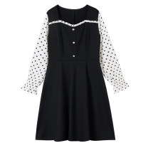 Women's large Spring 2021 black Large L, large XL, 2XL, 3XL, 4XL Dress singleton  commute Self cultivation moderate Socket Long sleeves Dot Korean version square neck Three dimensional cutting routine 30-34 years old Three dimensional decoration Middle-skirt