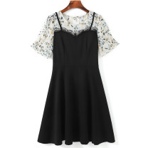 Women's large Summer 2021 black Large XL, 2XL, 3XL, 4XL, 5XL Dress singleton  commute Self cultivation moderate Socket Short sleeve Solid color Korean version Crew neck Three dimensional cutting routine 30-34 years old Three dimensional decoration Middle-skirt
