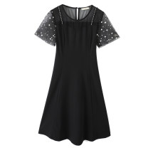 Women's large Summer 2021 black Large XL, 2XL, 3XL, 4XL, 5XL Dress singleton  commute Self cultivation moderate Socket Short sleeve Korean version Crew neck Three dimensional cutting routine 30-34 years old Three dimensional decoration Middle-skirt