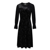 Women's large Spring 2021 black Large XL, 2XL, 3XL, 4XL, 5XL Dress singleton  commute Self cultivation moderate Socket Solid color Korean version Crew neck Three dimensional cutting other 30-34 years old Three dimensional decoration Middle-skirt other