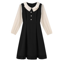 Women's large Spring 2021 black Large XL, 2XL, 3XL, 4XL, 5XL Dress singleton  commute Self cultivation moderate Socket Long sleeves Solid color Korean version Polo collar Three dimensional cutting routine 30-34 years old Three dimensional decoration Middle-skirt