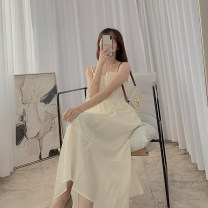 Dress Summer 2021 Apricot S, M Mid length dress singleton  Sleeveless commute High waist Solid color Socket A-line skirt camisole Type A More than 95% other