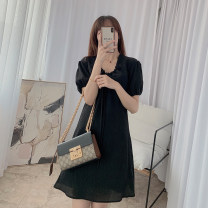 Dress Summer 2021 black S, M Short skirt singleton  Short sleeve commute V-neck High waist Solid color A-line skirt puff sleeve Others Type A 21408YS-LYQ21005 More than 95% other