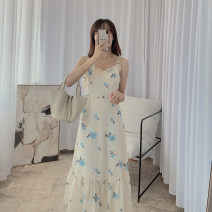 Dress Summer 2021 Apricot blue S, M Mid length dress singleton  Long sleeves commute V-neck High waist Decor A-line skirt camisole Type A 21408W-LYQ097X other