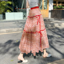 skirt Summer 2021 Average size Red, green, blue, black, khaki longuette commute High waist A-line skirt Decor Type A Chiffon polyester fiber Fold, print ethnic style