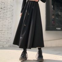 skirt Spring 2020 Average size black Mid length dress commute Natural waist Irregular 18-24 years old 51% (inclusive) - 70% (inclusive) brocade Splicing Retro