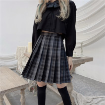 skirt Summer 2021 S,M,L Plaid skirt Short skirt commute High waist Pleated skirt lattice Type A 18-24 years old 30% and below other other Simplicity