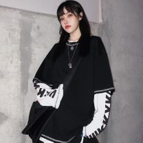 T-shirt Orange, white, emerald green, black Average size Autumn of 2019 Long sleeves Crew neck Fake two pieces Regular routine commute cotton 30% and below 18-24 years old Retro youth letter Other / other Printing, splicing