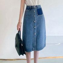 skirt Spring 2021 S,M,L Denim blue Mid length dress commute High waist A-line skirt Type A 25-29 years old HB582-T8338-69 More than 95% Denim cotton Pockets, beads, rags, buttons