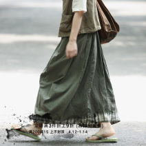 skirt Summer 2020 M, L Retro Green (hand dyed 7-day hair) longuette Retro Natural waist Flower bud skirt Solid color 30-34 years old 51% (inclusive) - 70% (inclusive) other Other / other hemp tie-dyed
