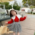Dress Black Plaid Skirt female Other / other Cotton 100% spring and autumn Korean version Strapless skirt lattice cotton Strapless skirt 12 months, 18 months, 2 years old, 3 years old, 4 years old, 5 years old, 6 years old, 7 years old, 8 years old Chinese Mainland Guangdong Province Guangzhou City