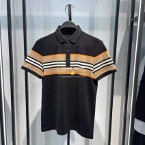 Polo shirt Peacebird Fashion City routine Black b1dbb2324 S,M,L,XL,2XL Self cultivation Other leisure summer Short sleeve B1DBB2324 Business Casual routine youth 2021 stripe cotton No iron treatment other More than 95%