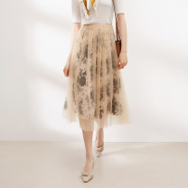 skirt Spring 2021 38 = s code < min Hou stock! >, 40 = M code, 42 = l code Apricot Mid length dress commute Natural waist A-line skirt Big flower Type A More than 95% Silk and satin BEETLE FLY / The bug flies silk Simplicity