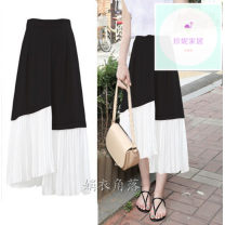 skirt Autumn of 2018 XS,S,M,L,XL,2XL,3XL,4XL,5XL black gorgeous High waist Solid color 18-24 years old Chiffon