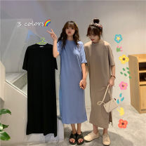 Dress Spring 2021 Black blue Khaki M L XL longuette singleton  Short sleeve commute Crew neck High waist Solid color other other routine Others 18-24 years old Type A Weimei (clothing) Korean version 922# More than 95% other other Other 100% Pure e-commerce (online only)