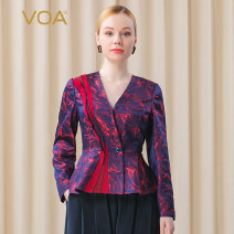 short coat Spring 2021 155/S 160/M 165/L 170/XL 175/XXL 180/XXXL Flaming red cloud pattern (E43) Long sleeves routine routine singleton  Self cultivation Original design routine V-neck Single breasted Abstract pattern 30-34 years old VOA 96% and above WE81 silk silk Mulberry silk 100%