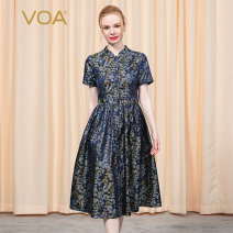 Dress Summer 2020 Tibetan blue dot (q92) River shadow floating and sinking (r79) 155/S 160/M 165/L 170/XL 175/XXL 180/3XL Mid length dress singleton  Short sleeve commute stand collar middle-waisted Dot Single breasted Big swing other Others 30-34 years old Type X VOA lady A4910 More than 95% brocade