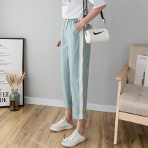 Casual pants Black, off white, Navy, watermelon red, mint green, light pink S. M, l, XL, XXL Spring of 2019 Ninth pants Natural waist commute Thin money 25-29 years old 91% (inclusive) - 95% (inclusive) Cotton and hemp hemp lady
