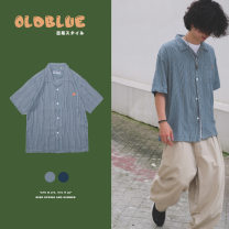 shirt Youth fashion OLDBLUE L,M,XL Light blue, dark blue routine other Short sleeve easy Other leisure Four seasons OB-164 teenagers American leisure 2019 stripe Multiple pockets
