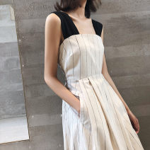 Dress Summer 2021 Long, medium and long S,M,L,XL,2XL longuette singleton  Sleeveless commute High waist stripe Socket camisole Type A Korean version